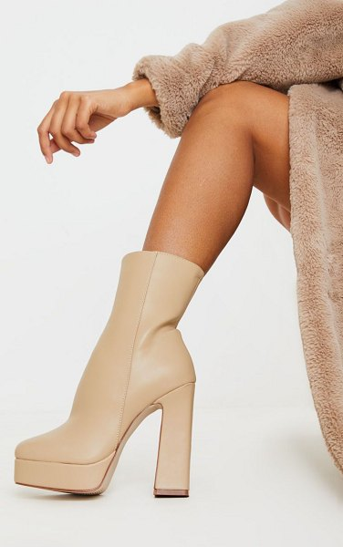 PrettyLittleThing platform ankle boots in nude