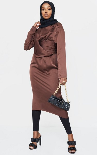 PrettyLittleThing pleated drape detail midi dress in chocolate