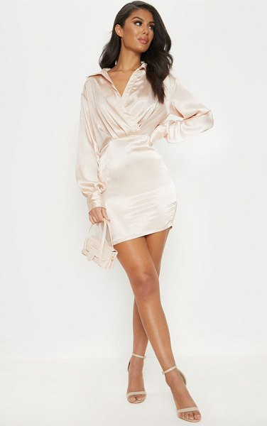 PrettyLittleThing pleated satin shirt style bodycon dress in champagne - Add some champagne to your weekend wardrobe for some...