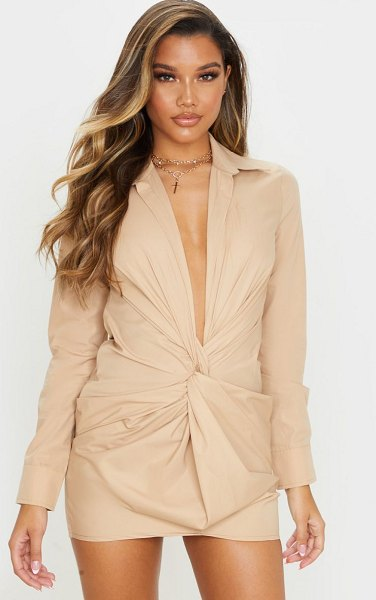 PrettyLittleThing plunge knot detail shirt dress in stone