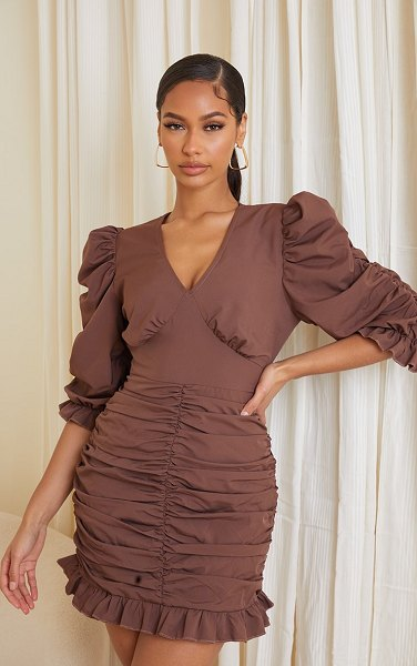 PrettyLittleThing plunge puff sleeve ruched skirt bodycon dress in chocolate