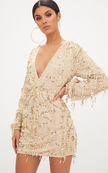 PrettyLittleThing plunge sequin long sleeve bodycon dress in gold