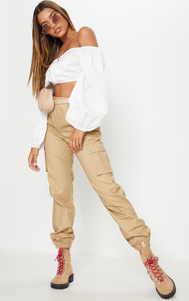PrettyLittleThing pocket detail cargo pants in stone