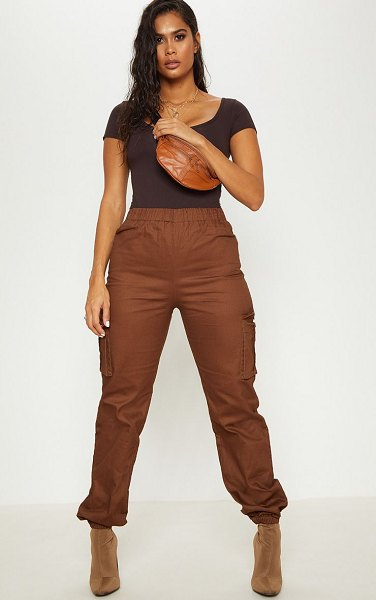 PrettyLittleThing pocket detail cargo pants in chocolate