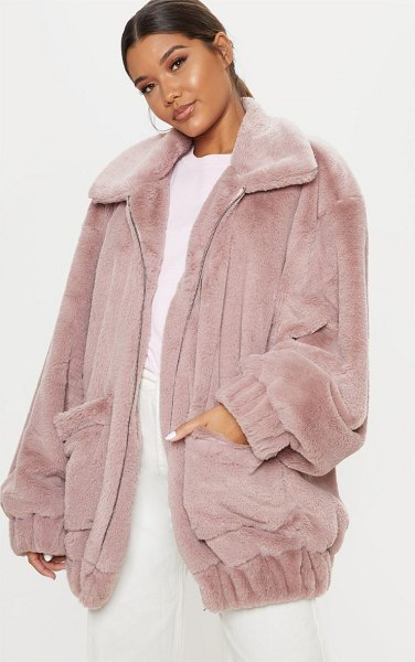 PrettyLittleThing pocket front faux fur coat in rose -  Add a cute touch to your everyday look with this coat...