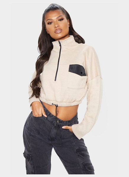 PrettyLittleThing pocket zip front crop sweater in sand