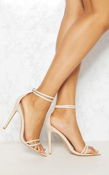 PrettyLittleThing point toe barely there sandal in nude