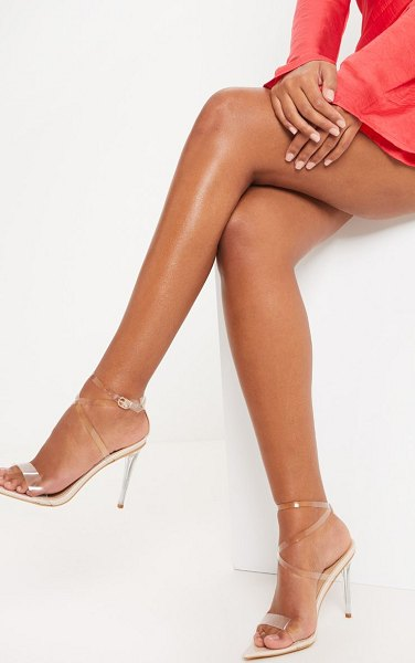 PrettyLittleThing point toe clear strappy sandal in nude