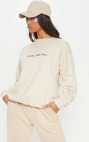 PrettyLittleThing embroidered oversized sweater in cream