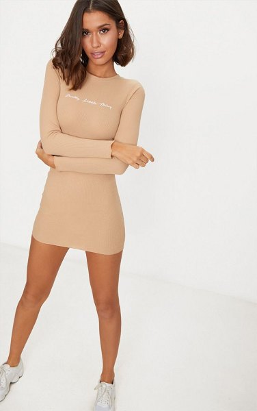 PrettyLittleThing embroidered ribbed bodycon dress in stone