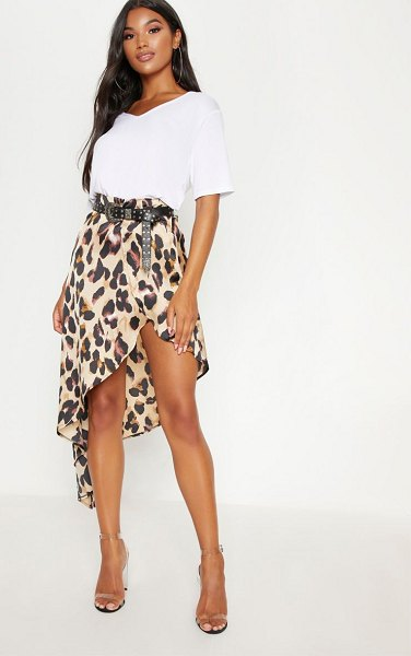 PrettyLittleThing print satin asymmetric skirt in leopard - We are loving prints this season and this leopard print...
