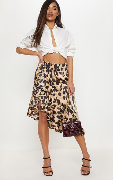 PrettyLittleThing print satin waterfall front midi skirt in leopard - Add some leopard to your workwear wardrobe with this...