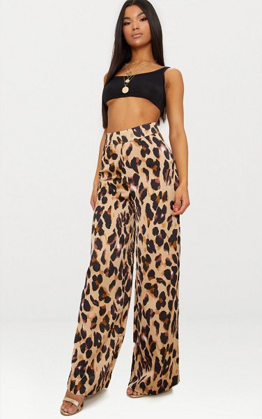 PrettyLittleThing print satin wide leg pants in leopard - We are dreaming over this leopard print and these...