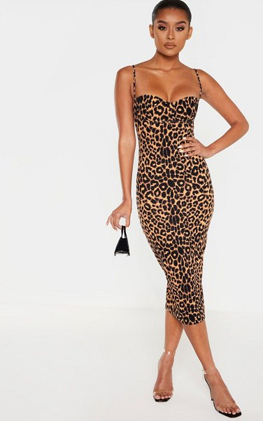 PrettyLittleThing print strappy cup detail midi dress in leopard