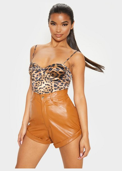 PrettyLittleThing print structured corset top in leopard