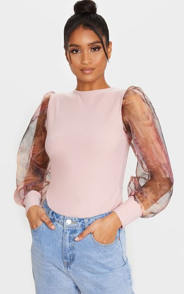 PrettyLittleThing printed organza long sleeve top in blush