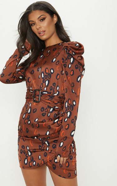 PrettyLittleThing printed puff sleeve bodycon dress in brown