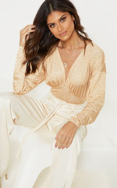 PrettyLittleThing printed slinky plunge bodysuit in champagne