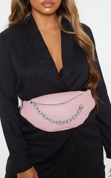 PrettyLittleThing pu chain bum bag in pink
