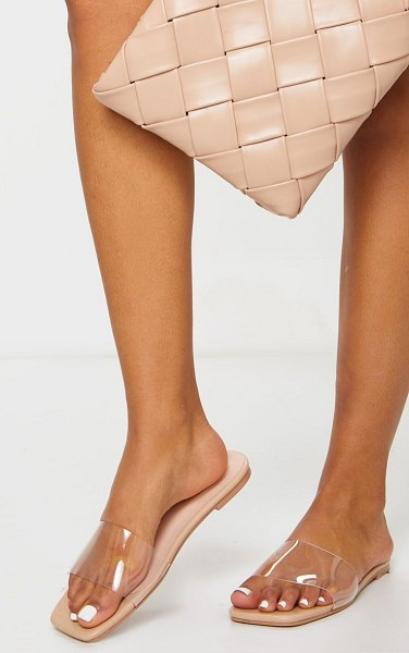 PrettyLittleThing pu clear strap mule sandals in nude