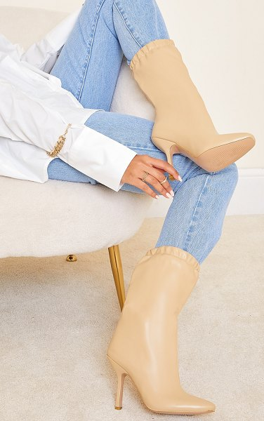 PrettyLittleThing pu elastic cuff mid heeled boots in beige