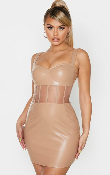 PrettyLittleThing pu mesh binding insert sleeveless bodycon dress in taupe