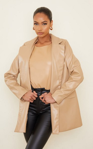 PrettyLittleThing pu oversized double breasted covered button blazer in sand