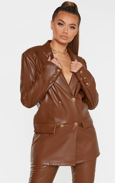 PrettyLittleThing pu oversized double breasted pocket front blazer in brown