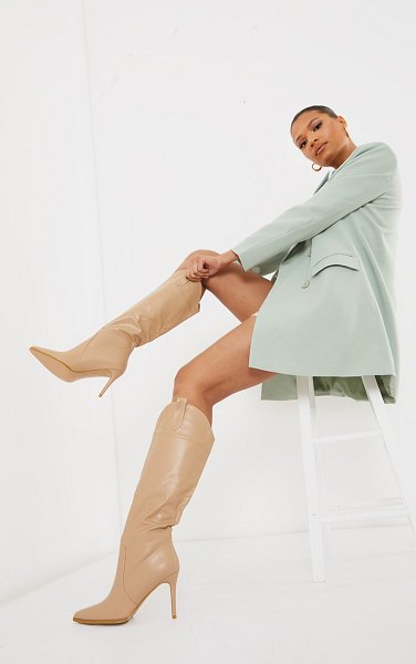 PrettyLittleThing pu point toe western high heeled boots in sand