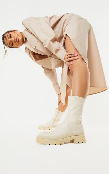 PrettyLittleThing pu ribbed detail chunky sole sock ankle boots in cream