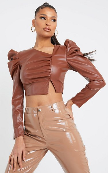 PrettyLittleThing pu ruched asymmetric neck long sleeve crop top in tan