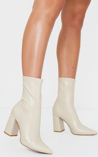 PrettyLittleThing pu sock boots in nude