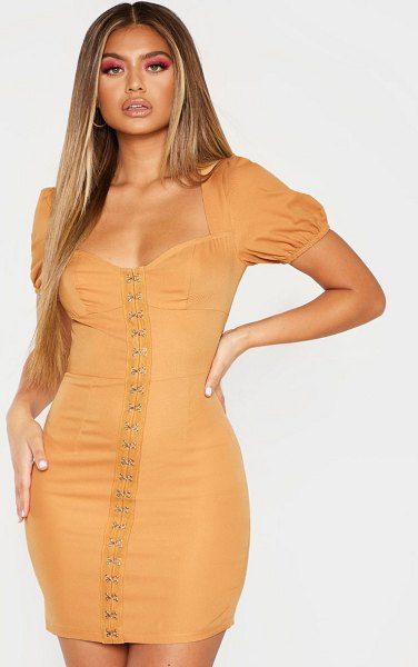 PrettyLittleThing puff sleeve bodycon dress in camel