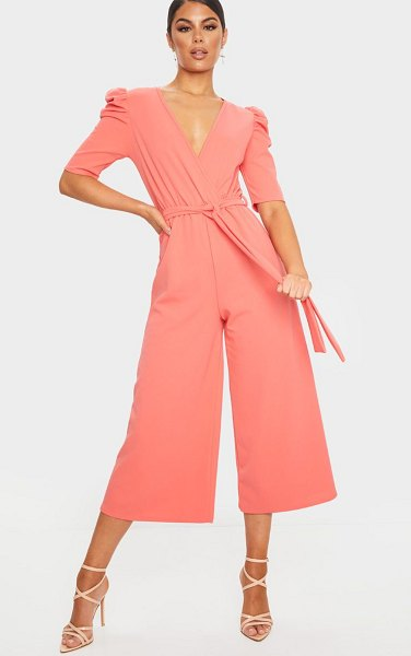 PrettyLittleThing puff sleeve culotte jumpsuit in coral