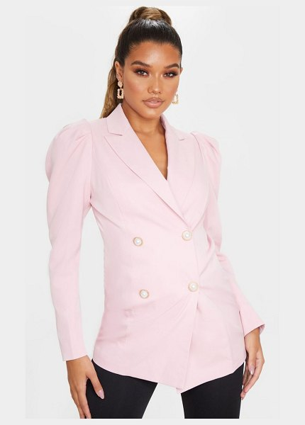 PrettyLittleThing puff sleeve pearl button fitted blazer in pink