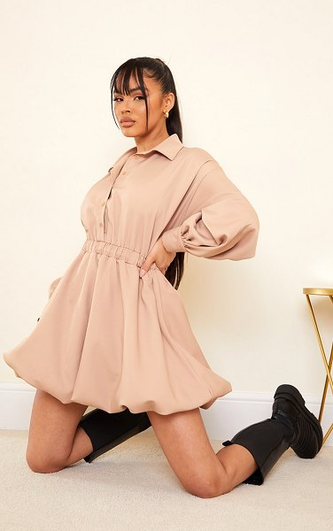 PrettyLittleThing puffball hem shirt dress in stone