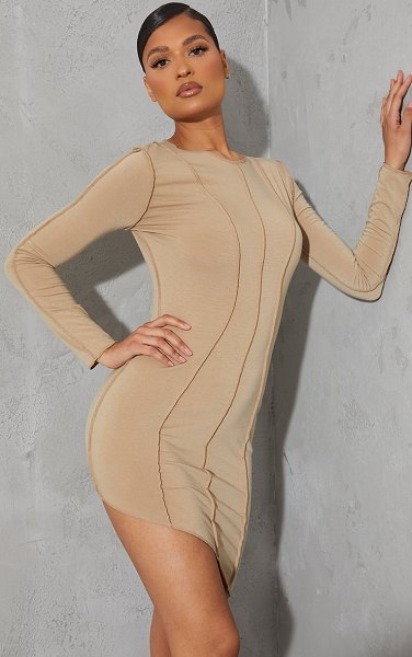 PrettyLittleThing recycled jersey raw seam long sleeve asymmetric bodycon dress in stone