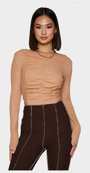PrettyLittleThing rib multi ruched long sleeve crop top in brown