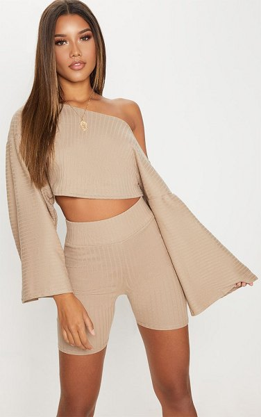 PrettyLittleThing rib off the shoulder crop top in taupe