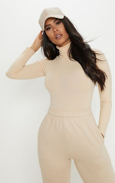 PrettyLittleThing rib roll neck long sleeve bodysuit in cream