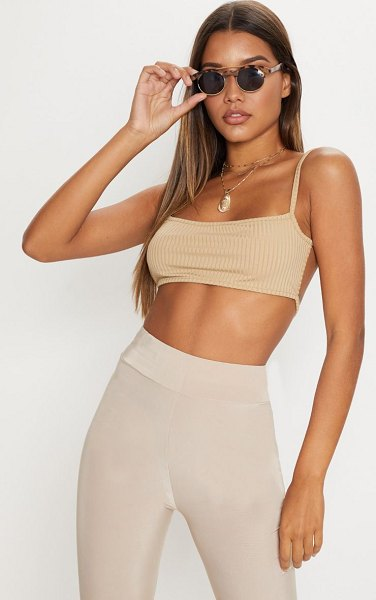 PrettyLittleThing rib strappy back bralet in stone -  Basics are forever an essential in every wardrobe girl...