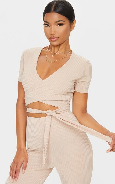 PrettyLittleThing rib tie front wrap over crop top in stone
