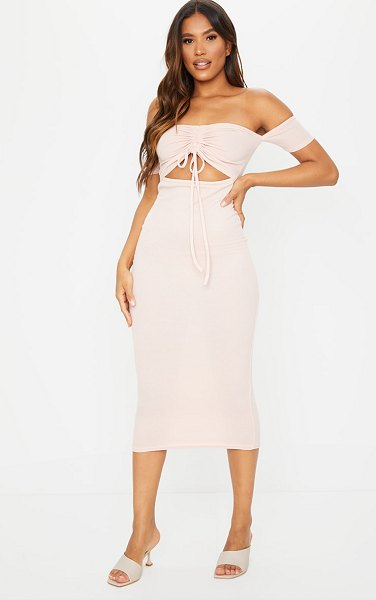PrettyLittleThing ribbed bardot ruched cut out midi dress in nude