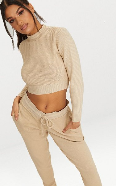 PrettyLittleThing ribbed cropped knitted sweater in stone
