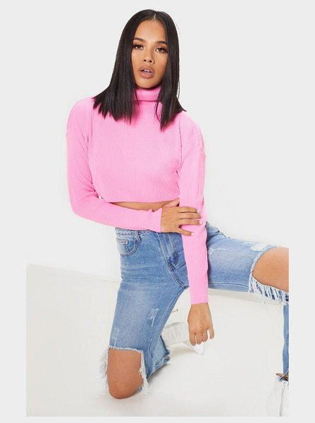PrettyLittleThing ribbed cropped roll neck sweater in pink - This knitted sweater is sure to elevate your knit...