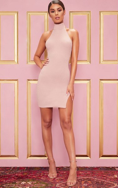 PrettyLittleThing ribbed high neck split detail bodycon dress in rose
