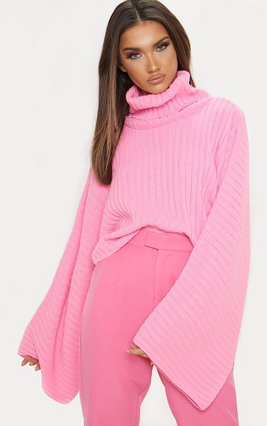 PrettyLittleThing ribbed knit high neck sweater in pink