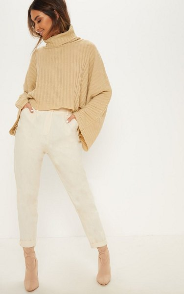 PrettyLittleThing ribbed knit high neck sweater in camel -  Keep cosy and casual this winter in this show stopping...