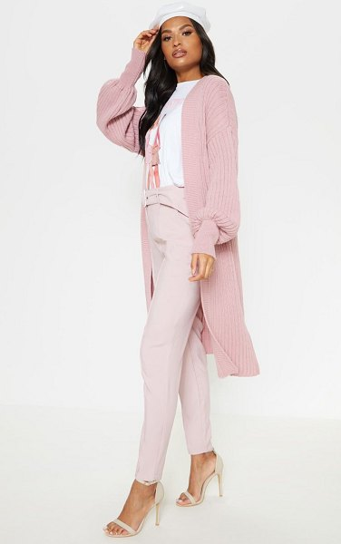 PrettyLittleThing ribbed knitted midi cardigan in pink