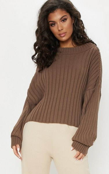 PrettyLittleThing ribbed knitted sweater in taupe